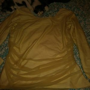 A' Nue Ligne yellow mesh double layer Blouse large